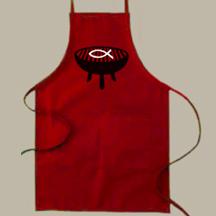 atheist jesus fish apron